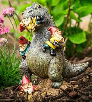 garden gnomes dinosaur